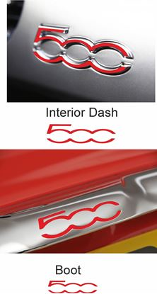 Picture of Fiat 500 / 595 Boot Trim and Interior Dash Badge overlay  Decals / Stickers