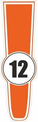 Picture of Custom Colour Bonnet Track  Number  Sticker / Stripe Decal