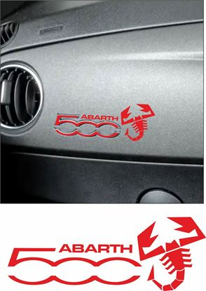 "Picture of Fiat 500 / 595  Interior Dash ""500"" Vinyl overlay  &  Abarth Decal / Sticker"