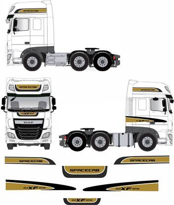 "Picture of DAF XF Euro 6 Super spacecab ""Gold Edition"" full Stripe / Graphics Livery / Stickers"