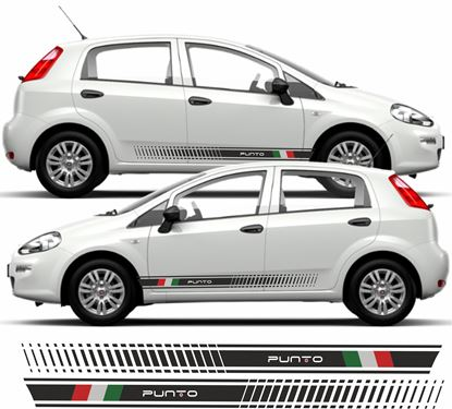 Picture of Fiat Punto Side Italian flag Stripes / Stickers