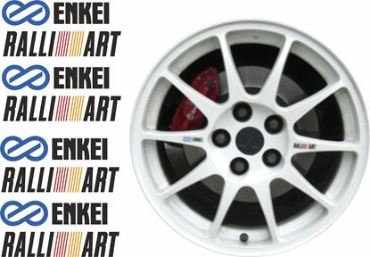"Picture of Mitsubishi Evolution  5 / 6 replacement ""Enkei"" / ""Ralliart"" Wheel Decals / Stickers"