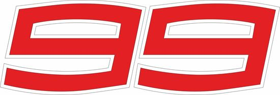 "Picture of ""99"" Jorge Lorenzo Track and street race nose cone number Decal / Sticker"