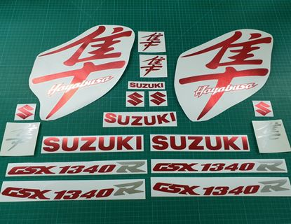 Picture of Suzuki  Hayabusa GSX 1340R  1999 - 2007 Red & Silver Chrome full replacement Decals / Stickers