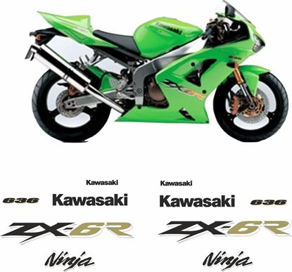 Picture of Kawasaki ZX-6R 636 2003 - 2004 replacement Decals / Stickers