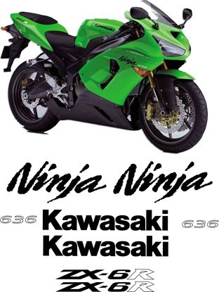 Picture of Kawasaki ZX-6R Ninja 2005 - 2006 Replacement Decals / Stickers