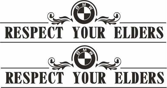 """Picture of BMW M sport """"Respect your elders""""  Decals / Stickers"""