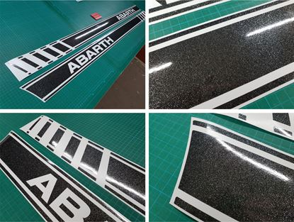 Picture of Fiat  500 / 595 Abarth OEM style Side Stripes / Stickers GLITTER