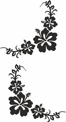 Picture of Floral corner Glass Decals / Stickers