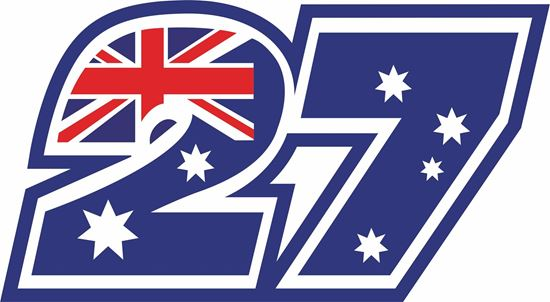 "Picture of ""27"" Casey Stoner Track and street race nose cone number Decal / Sticker"