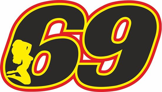 """Picture of """"69"""" Track and street race nose cone number Decal / Sticker"""