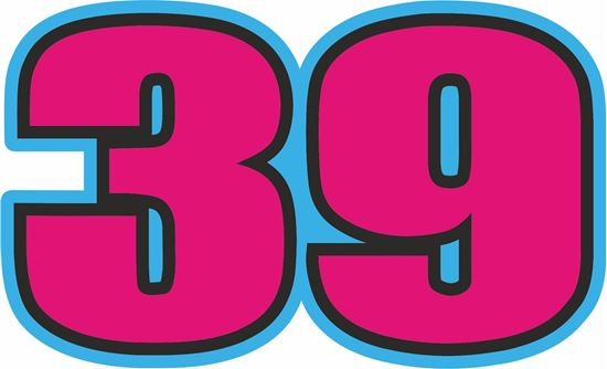 """Picture of """"39"""" Luis Salom Track and street race nose cone number Decal / Sticker"""