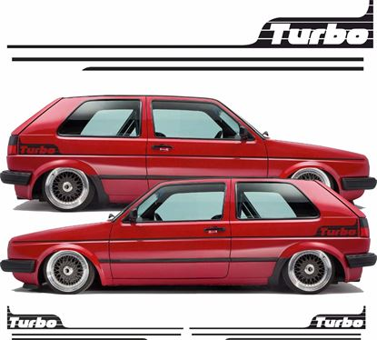 """Picture of MK2 Golf side Stripes and rear quarter """"Turbo"""" Stickers / Stripes"""