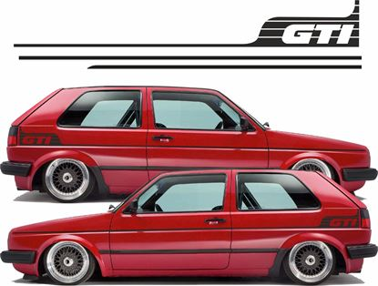 """Picture of MK2 Golf side Stripes & rear quarter """"GTi"""" Decals / Stickers"""
