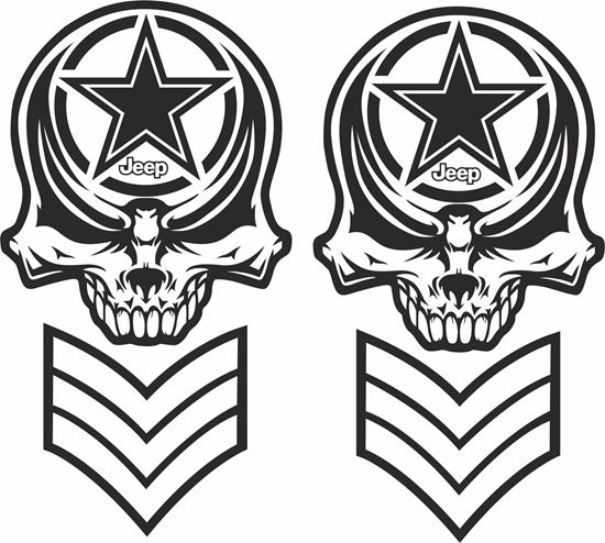 Picture of Jeep  Army Skull  Decals / Stickers