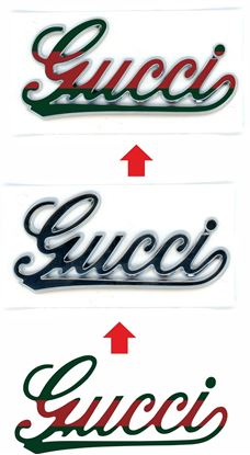 "Picture of Fiat 500 ""Gucci"" side Pillar and rear OE Badge overlay Decals / Stickers"