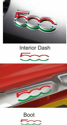 Picture of Fiat 500 / 595 Boot Trim & Interior Dash Badge Italian Vinyl overlay  Decals / Stickers