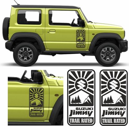 "Picture of ""Suzuki Jimny Trial Rated"" side Door Decals / Stickers"