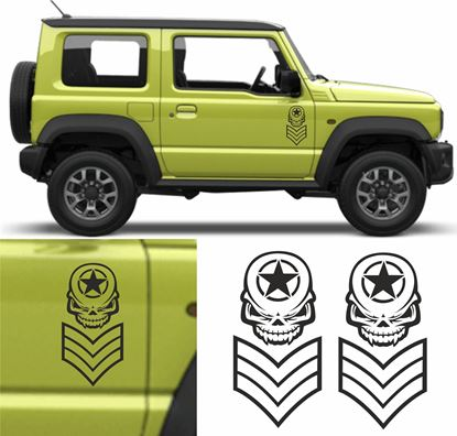 Picture of Jimny Military Skull / Stripes side Door Decals / Stickers