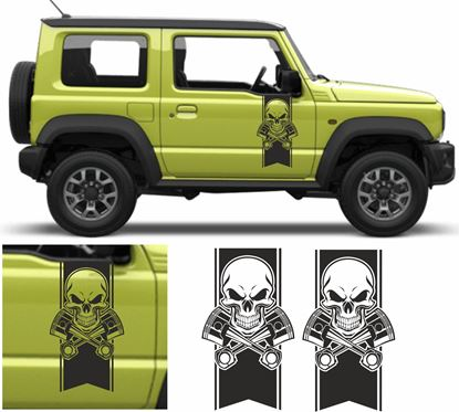 Picture of Jimny Skull / Piston Stripes side Door Decals / Stickers