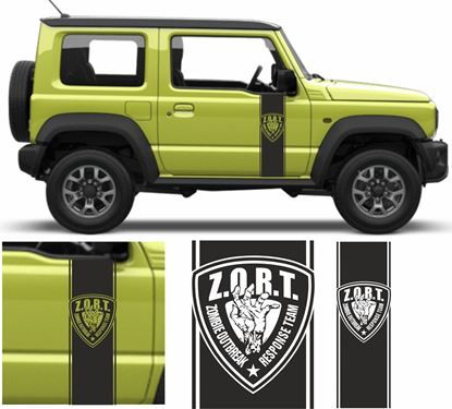 "Picture of Jimny ""Zombie Outbreak"" side Door Decals / Stickers"