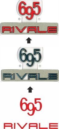 Picture of Fiat 695 Rivale rear OE Badge vinyl overlay Decal / Sticker