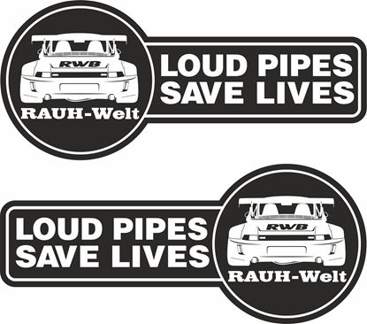 Picture of Loud Pipes Saves Lives RWB Decals / Stickers