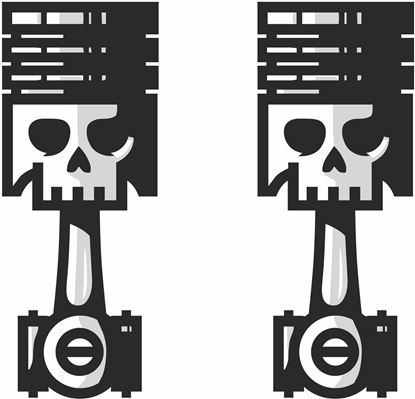 Picture of Skull Piston Decals / Stickers