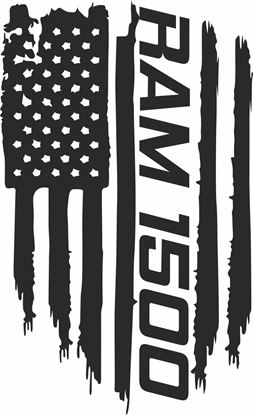 Picture of Dodge Ram 1500 distressed Flag Hood Decal / Sticker