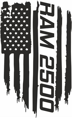 Picture of Dodge Ram 2500 distressed Flag Hood Decal / Sticker