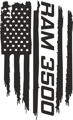 Picture of Dodge Ram 3500 distressed Flag Hood Decal / Sticker