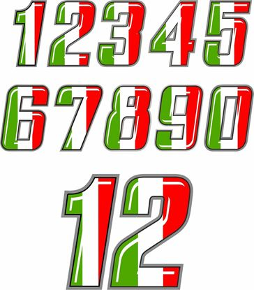 Picture of Track Day Door  Italia Number Decals  / Stickers
