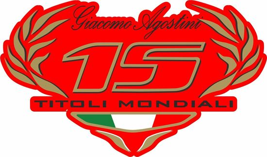 """Picture of """"15  Titoli Mondali"""" Giacomo Agostini Track and street race nose cone number Decal / Sticker"""