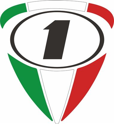 """Picture of Italia """"1"""" Track and street race nose cone number Decal / Sticker"""