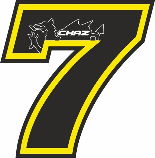 """Picture of """"7""""  Chaz Davies Track and street race nose cone number Decal / Sticker"""