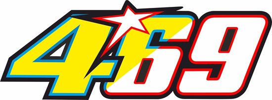 "Picture of ""469"" Nicky Haden Rossi Track and street race nose cone number Decal / Sticker"