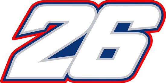 "Picture of ""26""Dani Pedrosa Track and street race nose cone number Decal / Sticker"