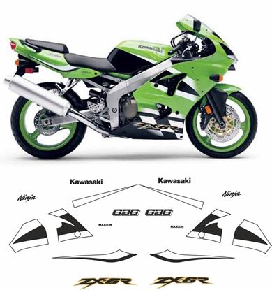 Picture of Kawasaki ZX-6R 636 Ninja 2000 - 2002 replacement Decals / Stickers