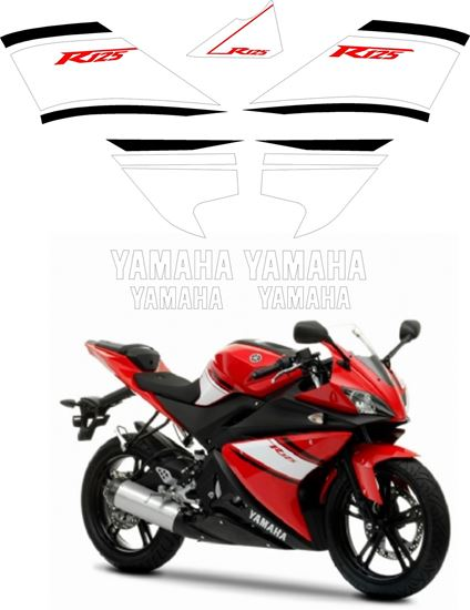 Picture of Yamaha YZF 125R 2008  Replacement Decals / Stickers - Red Bike Version