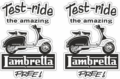 "Picture of Lambretta ""Test Ride the amazing...""  Decals / Stickers"