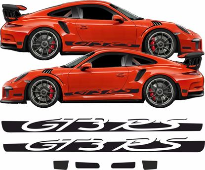 Picture of Porsche 911 / 991 GT3 RS GLOSS BLACK side Stripes / Stickers