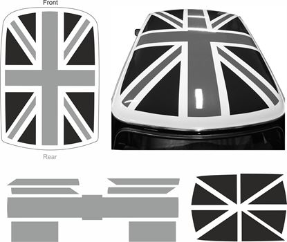 Picture of Classic Mini Union Jack Black & Grey Roof Graphic  / Sticker