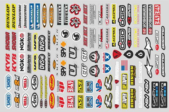 Picture of Mixed Logo Track and street race sponsor LARGE Sticker Sheet