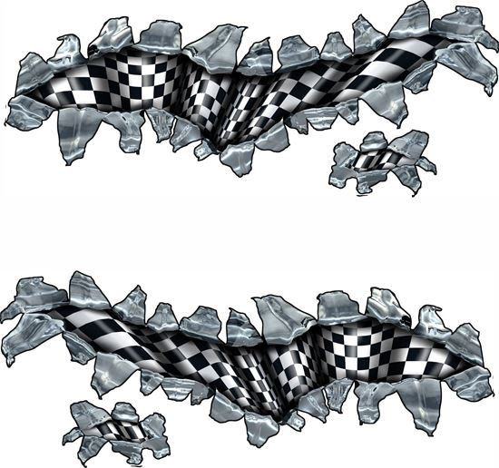 Picture of chequered flag Tear  general panel  Decals / Stickers