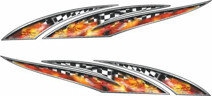 Picture of chequered Flames general panel Decals / Stickers