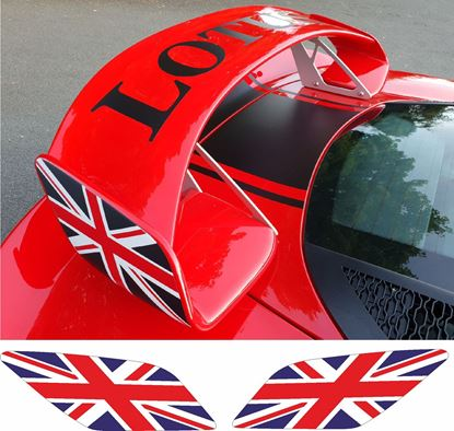 Picture of Lotus Exige S series 3 rear Wing GB Flag Decals / Stickers