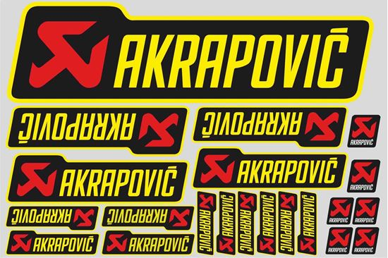 "Picture of ""Akrapovic""  Track and street race sponsor Sticker Sheet"