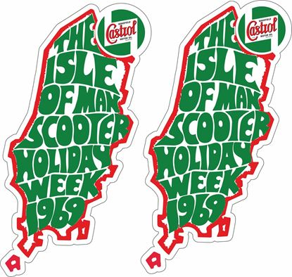 "Picture of Lambretta / Vespa  ""Isle of Man Holiday week 1969"" Castrol Decals / Stickers"