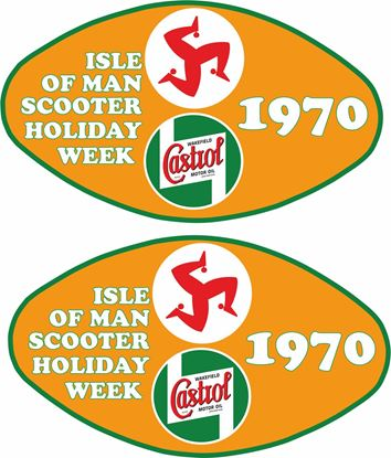 "Picture of Lambretta / Vespa  Castrol ""Isle of Man Holiday week 1979""  Decals / Stickers"