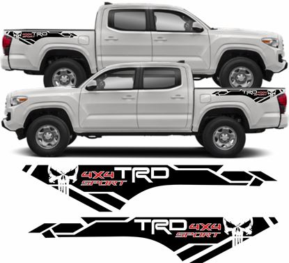 "Picture of Toyota Tacoma Punisher ""TRD 4x4 Sport"" side quarter Decals / Stickers"